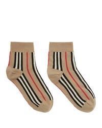 Calcetines de rayas horizontales marrón claro de Burberry
