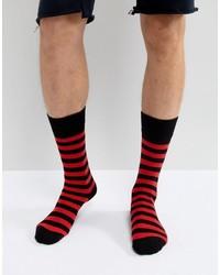 Calcetines de rayas horizontales rojos de Dr. Martens