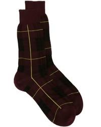 Calcetines de tartán burdeos de Alexander McQueen