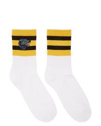 Calcetines en blanco y amarillo de Gucci