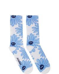 Calcetines estampados en blanco y azul de Jacquemus