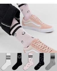 Calcetines estampados en blanco y negro de ASOS DESIGN