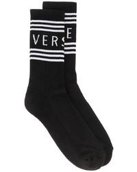 Calcetines estampados en negro y blanco de Versace