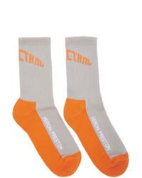 Calcetines estampados grises de Heron Preston