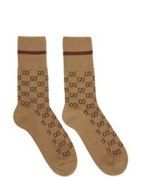 Calcetines estampados marrón claro de Gucci
