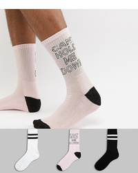 Calcetines estampados rosados de New Look