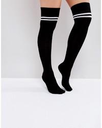 Calcetines hasta la rodilla de rayas horizontales negros de Asos