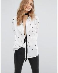 Camisa bordada blanca de Mango