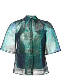 Camisa de encaje en verde azulado de DELPOZO
