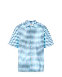 Camisa de Manga Corta a Cuadros Celeste de Marni