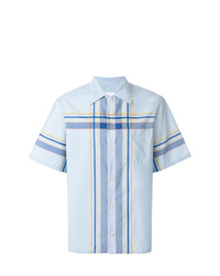 Camisa de manga corta a cuadros celeste de Prada