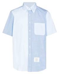 Camisa de manga corta a cuadros celeste de Thom Browne