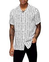 Camisa de manga corta a cuadros en blanco y negro