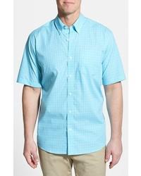 Camisa de manga corta a cuadros en turquesa