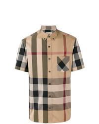 Camisa de manga corta a cuadros marrón claro
