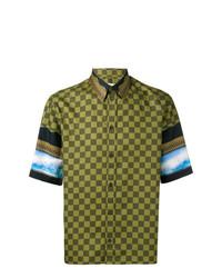 Camisa de manga corta a cuadros verde oliva de Givenchy