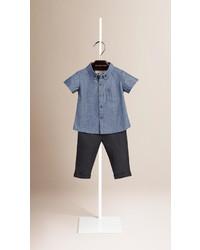 Camisa de manga corta azul