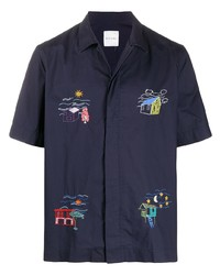 Camisa de manga corta bordada azul marino de Paul Smith