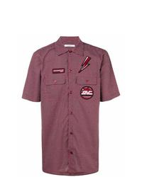 Camisa de manga corta bordada burdeos de Givenchy