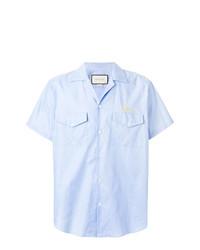 Camisa de manga corta bordada celeste de Gucci