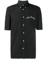Camisa de manga corta bordada negra de Alexander McQueen