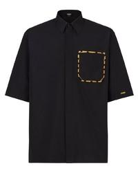 Camisa de manga corta bordada negra de Fendi