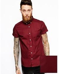Camisa de manga corta burdeos