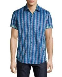 Camisa de manga corta con estampado geométrico azul