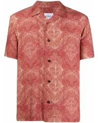 Camisa de manga corta con estampado geométrico roja de Dondup