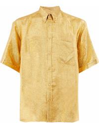 Camisa de manga corta con print de flores amarilla de Gucci