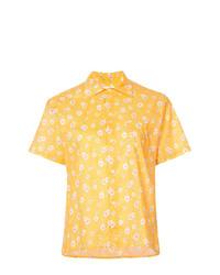 Camisa de manga corta con print de flores amarilla de R13