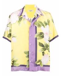 Camisa de manga corta con print de flores amarilla de Valentino
