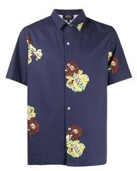 Camisa de manga corta con print de flores azul marino de A.P.C.