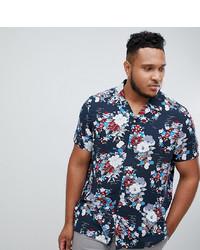 Camisa de manga corta con print de flores azul marino de ASOS DESIGN