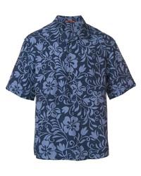 Camisa de manga corta con print de flores azul marino de Barena