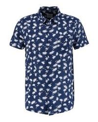 Camisa de Manga Corta con print de flores Azul Marino de Burton Menswear London