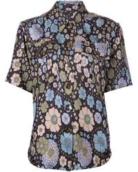 Camisa de manga corta con print de flores azul marino de Marc Jacobs