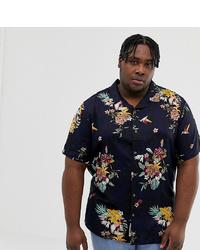 Camisa de manga corta con print de flores azul marino de ONLY & SONS