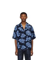 Camisa de manga corta con print de flores azul marino de Prada