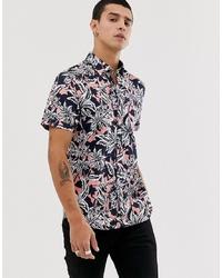 Camisa de manga corta con print de flores azul marino de Ted Baker