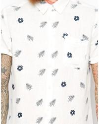 Camisa de manga corta con print de flores blanca de Asos
