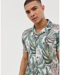 Camisa de manga corta con print de flores blanca de Burton Menswear