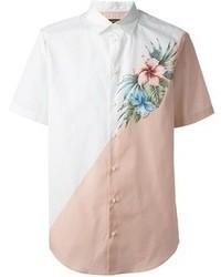 Camisa de manga corta con print de flores blanca de DSquared