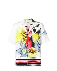 Camisa de manga corta con print de flores blanca de MSGM
