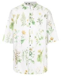 Camisa de manga corta con print de flores blanca de Salvatore Ferragamo