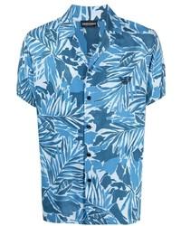 Camisa de manga corta con print de flores celeste de Emporio Armani