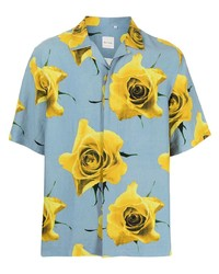 Camisa de manga corta con print de flores celeste de Paul Smith