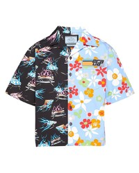 Camisa de manga corta con print de flores celeste de Prada