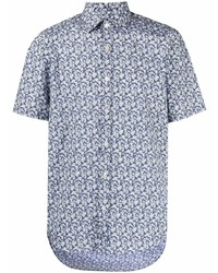 Camisa de manga corta con print de flores en azul marino y blanco de Canali
