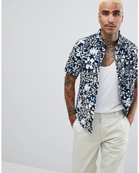 Camisa de manga corta con print de flores en azul marino y blanco de Vans
